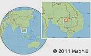"Savanna Style Location Map of the area around 13°44'54""N,104°37'30""E"