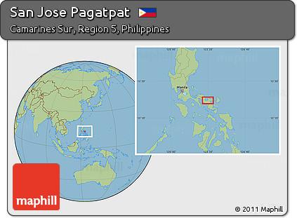 Free Savanna Style Location Map of San Jose Pagatpat