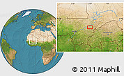 """Satellite Location Map of the area around 13°44'54""""N,5°1'30""""W"""