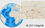 """Shaded Relief Location Map of the area around 13°44'54""""N,5°1'30""""W"""