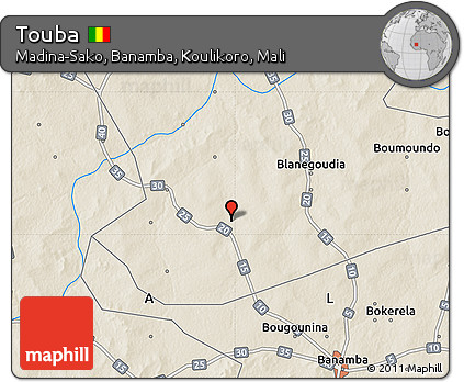 Free Shaded Relief Map of Touba