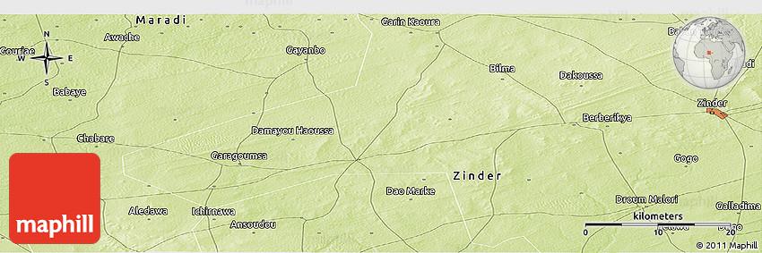 Physical Panoramic Map of Zinder