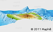 """Physical Panoramic Map of the area around 13°24'15""""S,172°28'29""""W"""