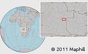 Gray Location Map of Cacondo, hill shading
