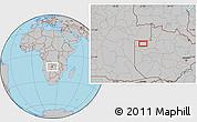 Gray Location Map of Zambezi