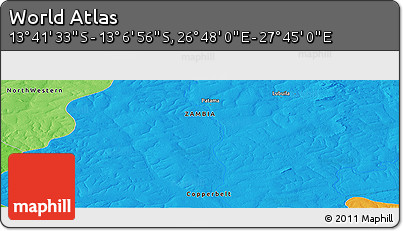 """Political Panoramic Map of the Area around 13°24'15""""S,27°16'29""""E"""