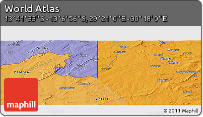 """Political Panoramic Map of the Area around 13°24'15""""S,29°49'30""""E"""