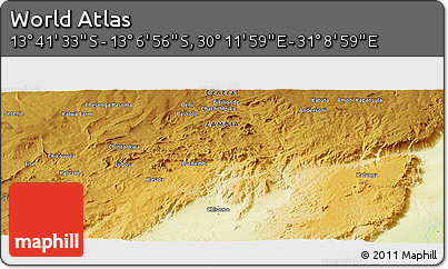 """Physical Panoramic Map of the Area around 13°24'15""""S,30°40'29""""E"""