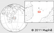 """Blank Location Map of the area around 13°24'15""""S,43°25'29""""E"""
