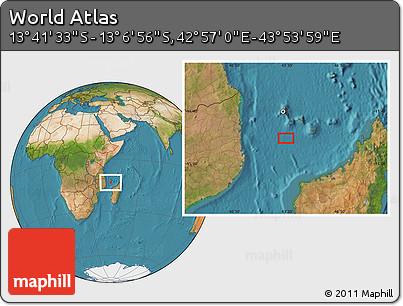 "Satellite Location Map of the Area around 13°24'15""S,43°25'29""E"