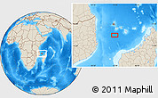 """Shaded Relief Location Map of the area around 13°24'15""""S,43°25'29""""E"""