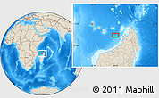 """Shaded Relief Location Map of the area around 13°24'15""""S,46°49'30""""E"""