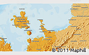 """Political 3D Map of the area around 13°24'15""""S,48°31'29""""E"""