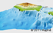"""Physical Panoramic Map of the area around 13°55'11""""S,172°28'29""""W"""