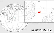 """Blank Location Map of the area around 13°55'11""""S,42°34'30""""E"""