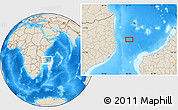 """Shaded Relief Location Map of the area around 13°55'11""""S,42°34'30""""E"""
