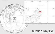"""Blank Location Map of the area around 13°55'11""""S,50°13'30""""E"""