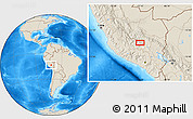 """Shaded Relief Location Map of the area around 13°55'11""""S,72°10'30""""W"""