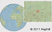 Savanna Style Location Map of Dori, hill shading