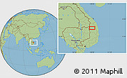 "Savanna Style Location Map of the area around 14°15'49""N,108°1'30""E"