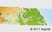 """Physical Panoramic Map of the area around 14°15'49""""N,108°52'30""""E"""