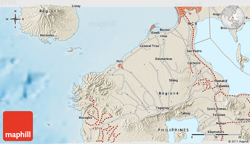 Shaded Relief D Map Of Calamba - Calamba city map