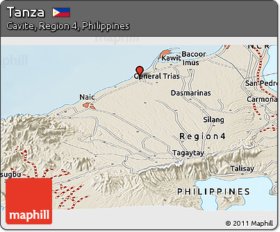 Free Shaded Relief Panoramic Map Of Tanza - Tanza map