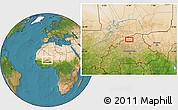 Satellite Location Map of Djibo