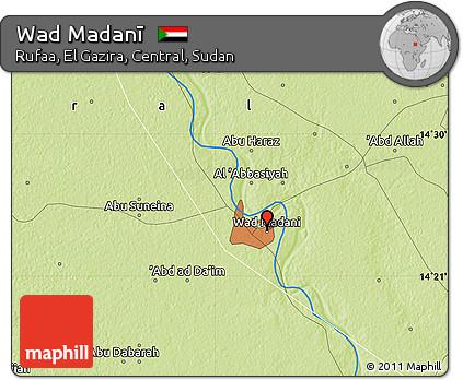 Free Physical Map Of Wad Madanī - Wad madani map