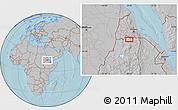 Gray Location Map of Dembe Arcai, hill shading