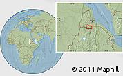 Savanna Style Location Map of Dembe Arcai, hill shading