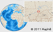 """Shaded Relief Location Map of the area around 14°15'49""""N,4°10'30""""W"""