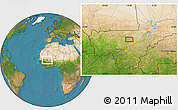 """Satellite Location Map of the area around 14°15'49""""N,6°43'29""""W"""