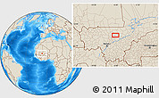 """Shaded Relief Location Map of the area around 14°15'49""""N,6°43'29""""W"""