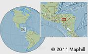 Savanna Style Location Map of Jacaleapa, hill shading