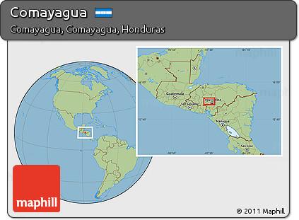 Savanna Style Location Map of Comayagua