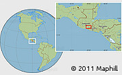 """Savanna Style Location Map of the area around 14°15'49""""N,90°1'30""""W"""