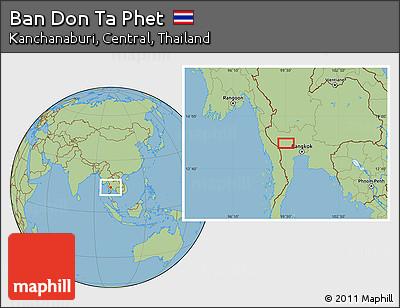 Free Savanna Style Location Map of Ban Don Ta Phet