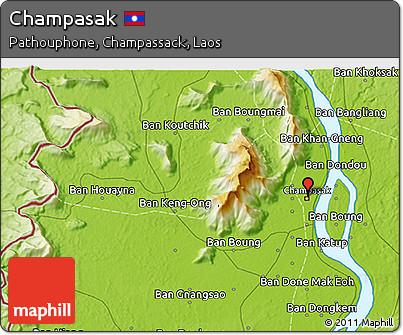Free Physical 3D Map of Champasak