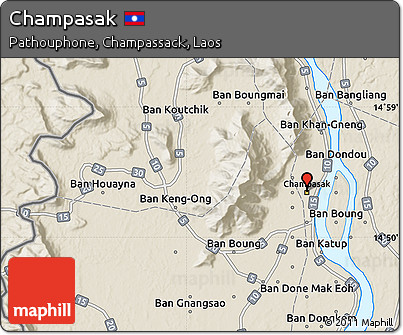 Free Shaded Relief Map of Champasak