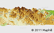 """Physical Panoramic Map of the area around 14°46'42""""N,108°1'30""""E"""