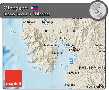 Olongapo Philippines Map.Free Shaded Relief Map Of Olongapo