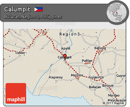Free Shaded Relief D Map Of Calumpit - Bulacan map philippines