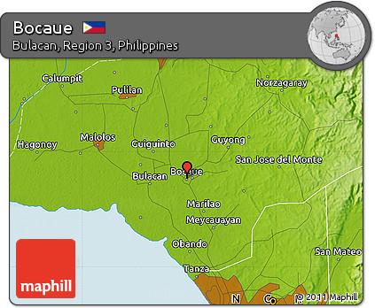 Free Physical Map Of Bocaue - Bocaue map