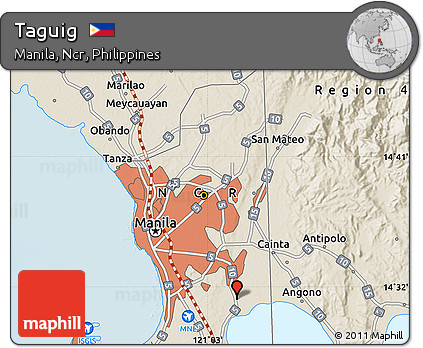 Free Shaded Relief Map of Taguig