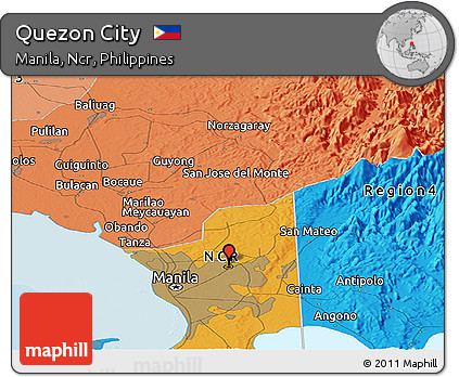 Free Political Panoramic Map of Quezon City