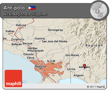 Free Shaded Relief Panoramic Map of Antipolo