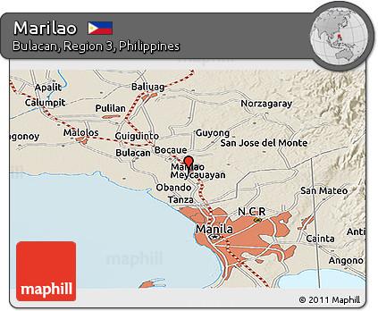 Free Shaded Relief Panoramic Map Of Marilao - Marilao map