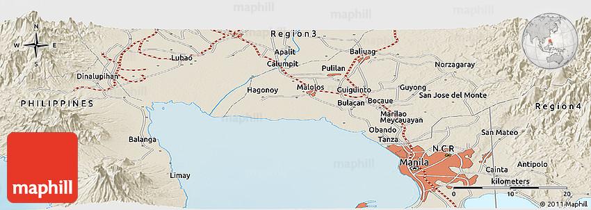 Shaded Relief Panoramic Map Of Bocaue - Bocaue map