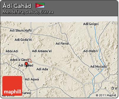 Shaded Relief 3D Map of Ādī Gahād